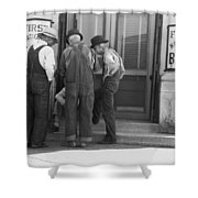 Men Talking On Bank Steps Shower Curtain