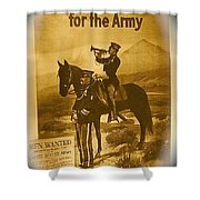 Men Wanted For The Army Poster No Date Ghost Town South Pass City Wyoming 1971 Vignetted Toned 2008 Shower Curtain