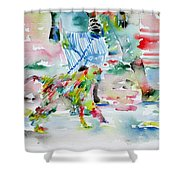 Men With Chained Monkey Shower Curtain