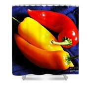 Menage A Trois Peppers Iv Shower Curtain