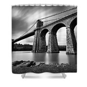 Menai Suspension Bridge Shower Curtain