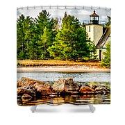 Mendota Bete Grise Lighthouse Shower Curtain