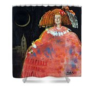 Menina And Cathedral Oil & Acrylic On Canvas Shower Curtain