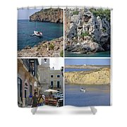 Menorca Collage 02 - Labelled Shower Curtain