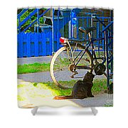 Meow Cat In Verdun Waiting By The Step Beautiful Summer Montreal Pet Lovers City Scene C Spandau Shower Curtain