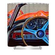 Mercedes-benz 300 Sl Steering Wheel Emblem Shower Curtain