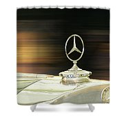 Mercedes Hood Ornament Shower Curtain