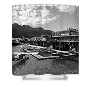 Merchants Wharf In Black And White Shower Curtain