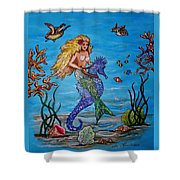 Mermaid And Seahorse Morning Swim Shower Curtain
