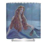 Mermaid In Moonlight Shower Curtain