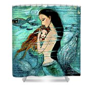 Mermaid Mother And Child Shower Curtain by Shijun Munns