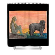 Mermaid Newfoundland Dog Sunset Cathy Peek Art Shower Curtain