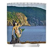 Mermaid On A Dock In Twillingate Harbour-nl Shower Curtain