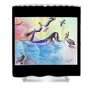 Mermaid Pelicans Surf Beach Cathy Peek Art Shower Curtain