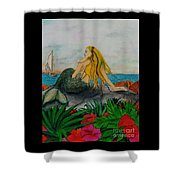 Mermaid Sailboat Flowers Cathy Peek Fantasy Art Shower Curtain