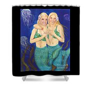 Mermaid Sisters Jelly Fish Cathy Peek Art Shower Curtain