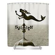 Mermaid Weathervane In Sepia Shower Curtain by Ben and Raisa Gertsberg