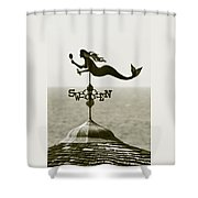 Mermaid Weathervane In Sepia Shower Curtain