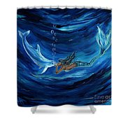 Mermaids Dolphin Buddy Shower Curtain
