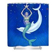Mermaids- Dolphin Moon Mermaid Shower Curtain