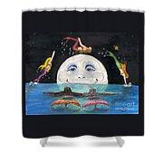 Mermaids Jumping Over Moon Cathy Peek Shower Curtain