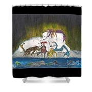 Mermaids Polar Bears Cathy Peek Fantasy Art Shower Curtain