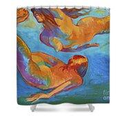 Mermaids Swimming Shower Curtain