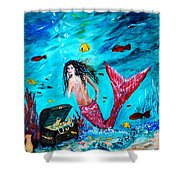 Mermaids Treasure Shower Curtain