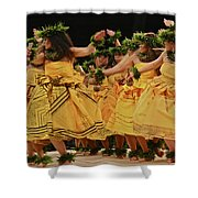 Merrie Monarch Hula Dancers In Yellow Dresses Shower Curtain