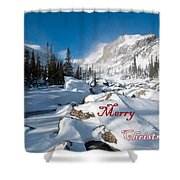 Merry Christmas Snowy Mountain Scene Shower Curtain