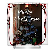 Merry Christmas - Greeting Card - Christmas Tree - Ribbons Shower Curtain