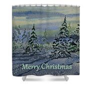 Merry Christmas - Snowy Winter Evening Shower Curtain