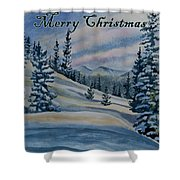 Merry Christmas - Winter Landscape Shower Curtain