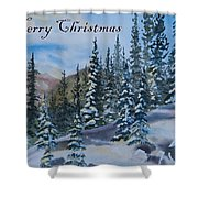 Merry Christmas - Winter Trees And Mountains Shower Curtain