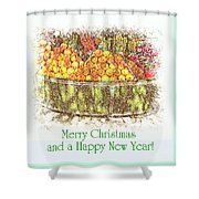 Merry Christmas And A Happy New Year - Fruit And Flowers In The Snow - Holiday And Christmas Card Shower Curtain