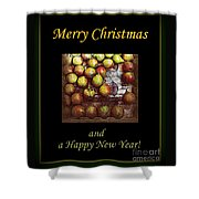 Merry Christmas And A Happy New Year - Little Gold Pears And Leaf - Holiday And Christmas Card Shower Curtain