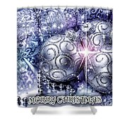 Merry Christmas Blue Shower Curtain by Mo T
