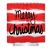 Merry Christmas- Greeting Card Shower Curtain
