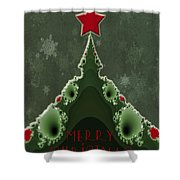 Merry Christmas Greeting - Tree And Star Fractal Shower Curtain
