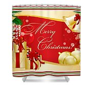 Merry Christmas Greeting With Gifts Bows And Ornaments Shower Curtain