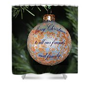 Merry Christmas Greetings Shower Curtain