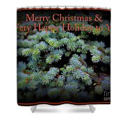 Merry Christmas And Happy Holiday - Blue Pine Holiday And Christmas Card Shower Curtain