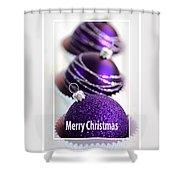 Merry Christmas Purple Baubles Shower Curtain