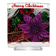 Merry Christmas Red Ribbon Shower Curtain