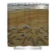 Merry Christmas Sand Art 1 12/25 Shower Curtain