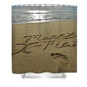 Merry Christmas Sand Art Footprint 4 12/25 Shower Curtain