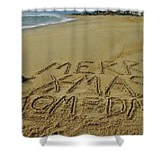Merry Christmas Sand Art Mom And Dad 3 12/25 Shower Curtain