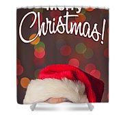 Merry Christmas Santa Card Shower Curtain
