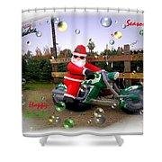 Merry Christmas  Seasons Greetings  Happy New Year Shower Curtain