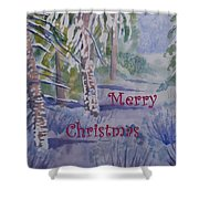 Merry Christmas - Snowy Winter Path Shower Curtain